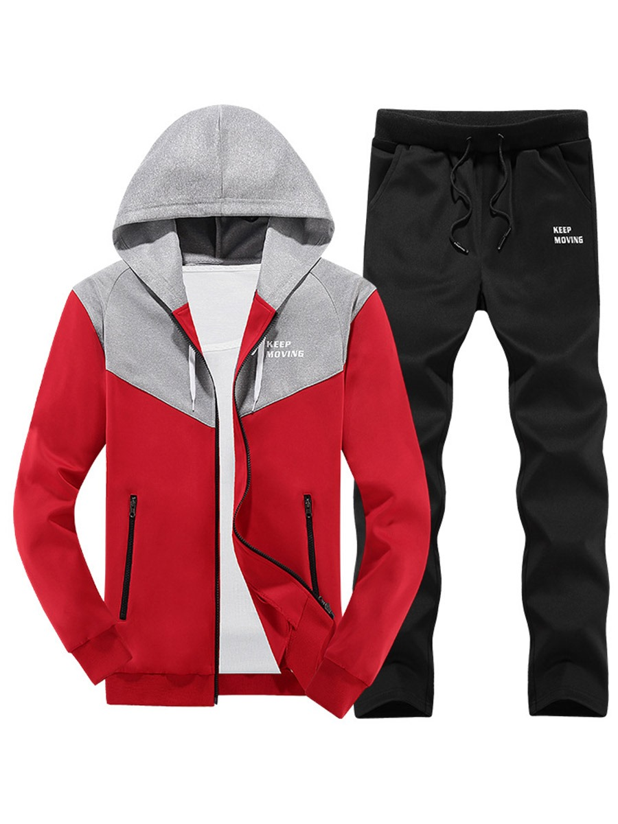 Ericdress Color Block Zip Sports Casual Men's Suit