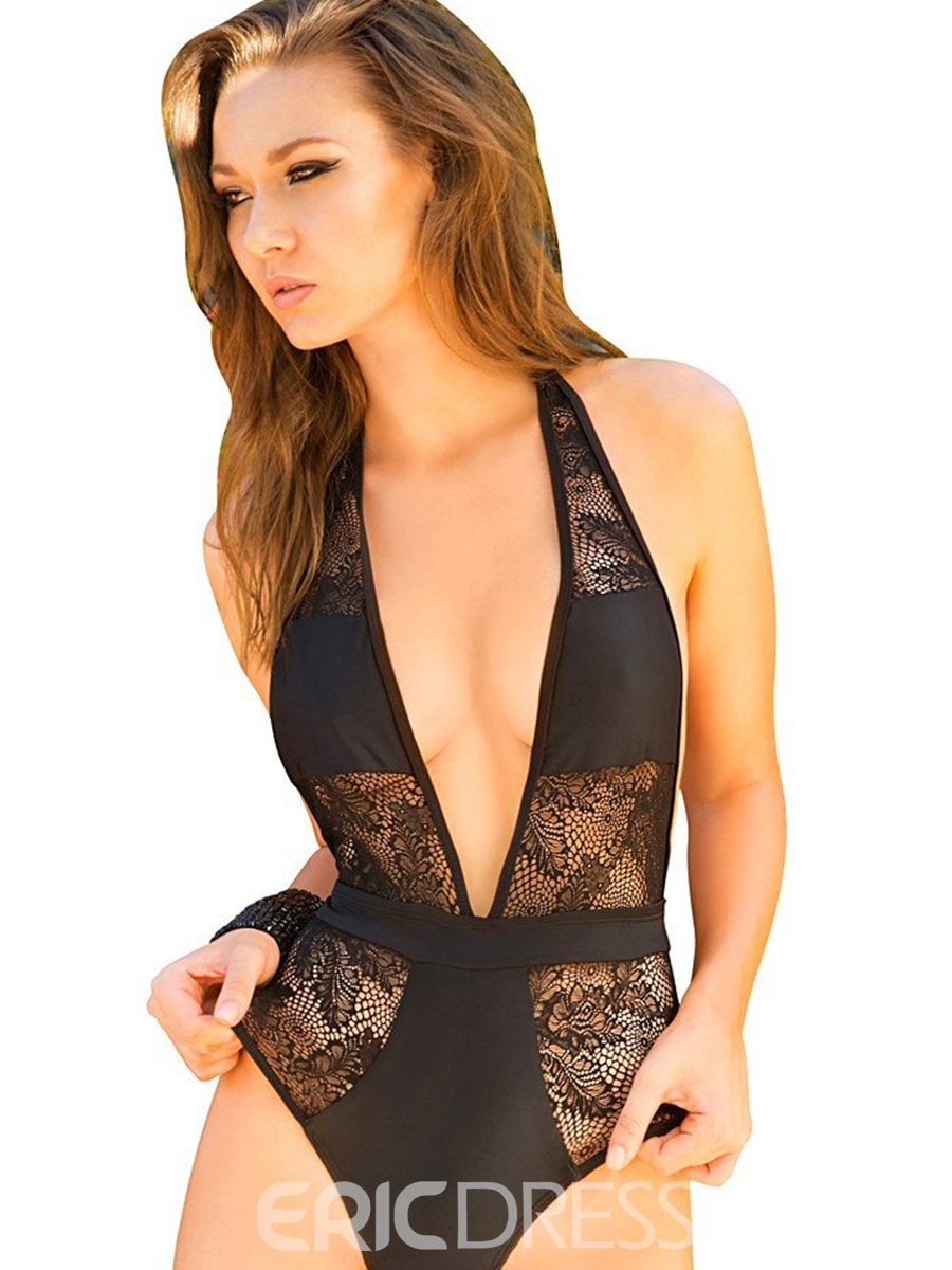 Ericdress Deep V-Neck Lace Patchwork Backless Monokini