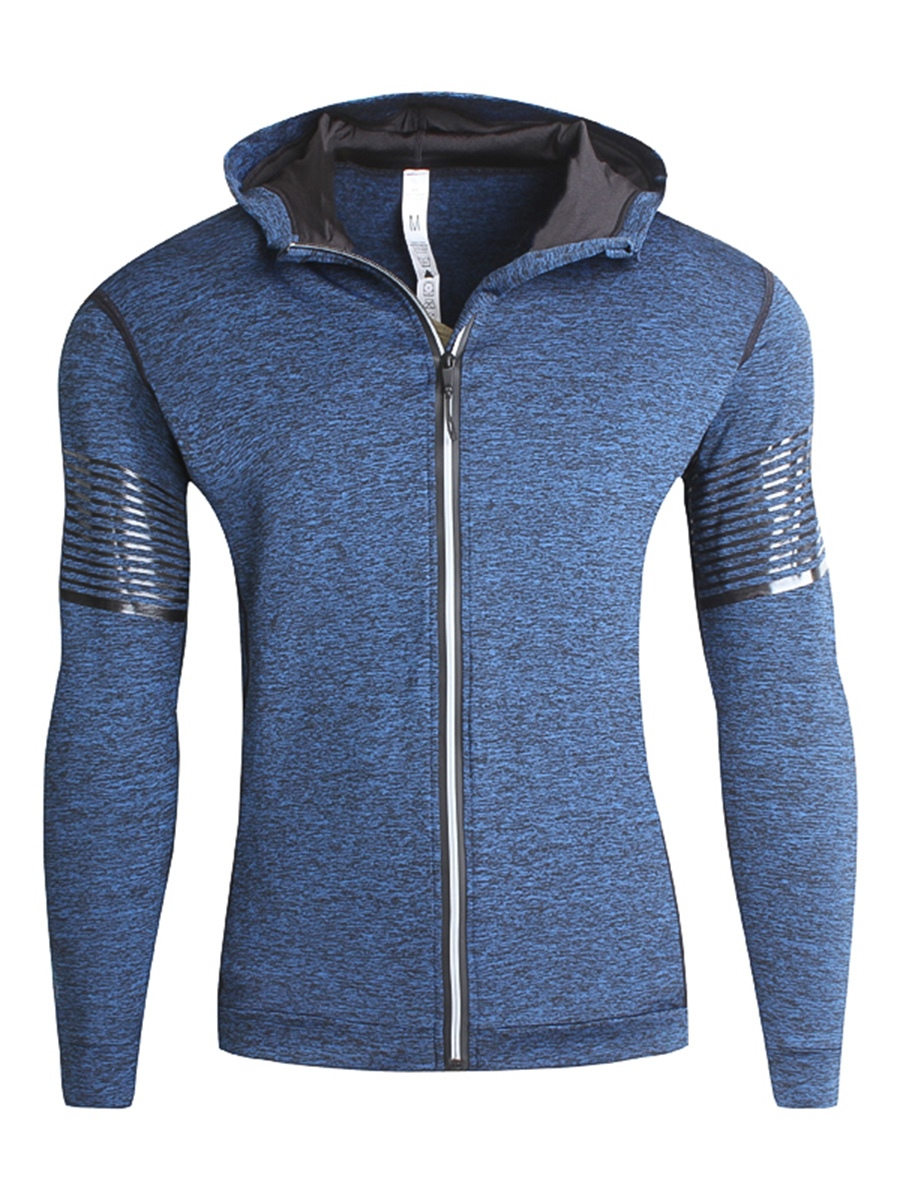 Ericdress Fleece Lined Zip Casual Slim Men's Hoodie