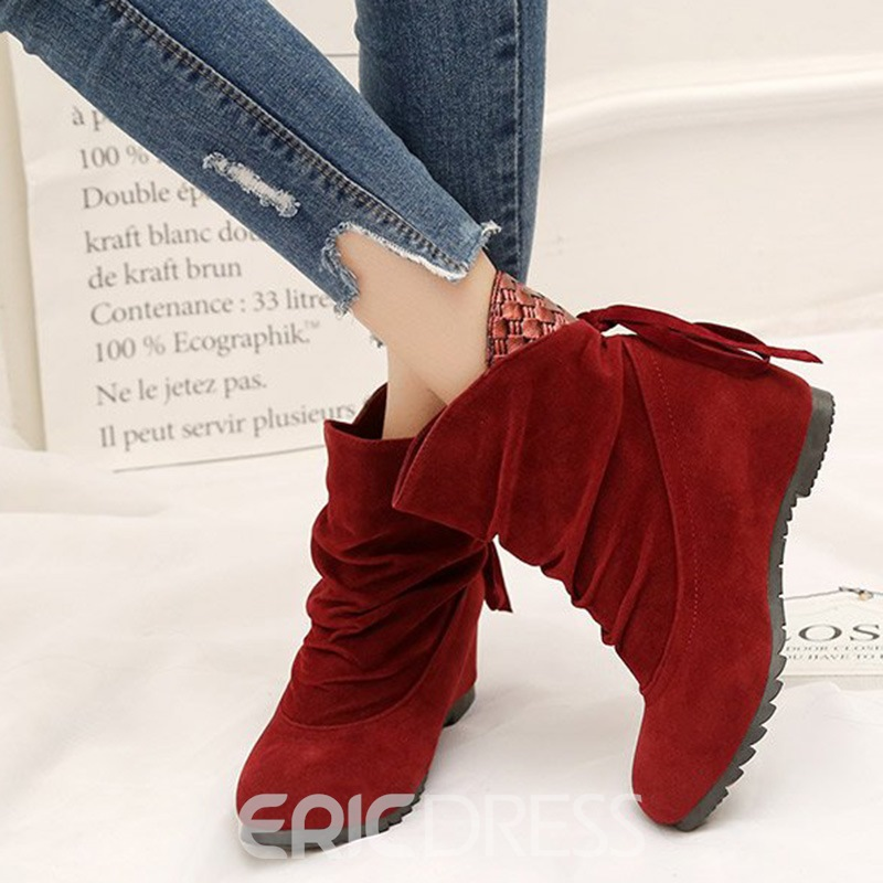 Ericdress Plain Slip-On Patchwork Ankle Boots