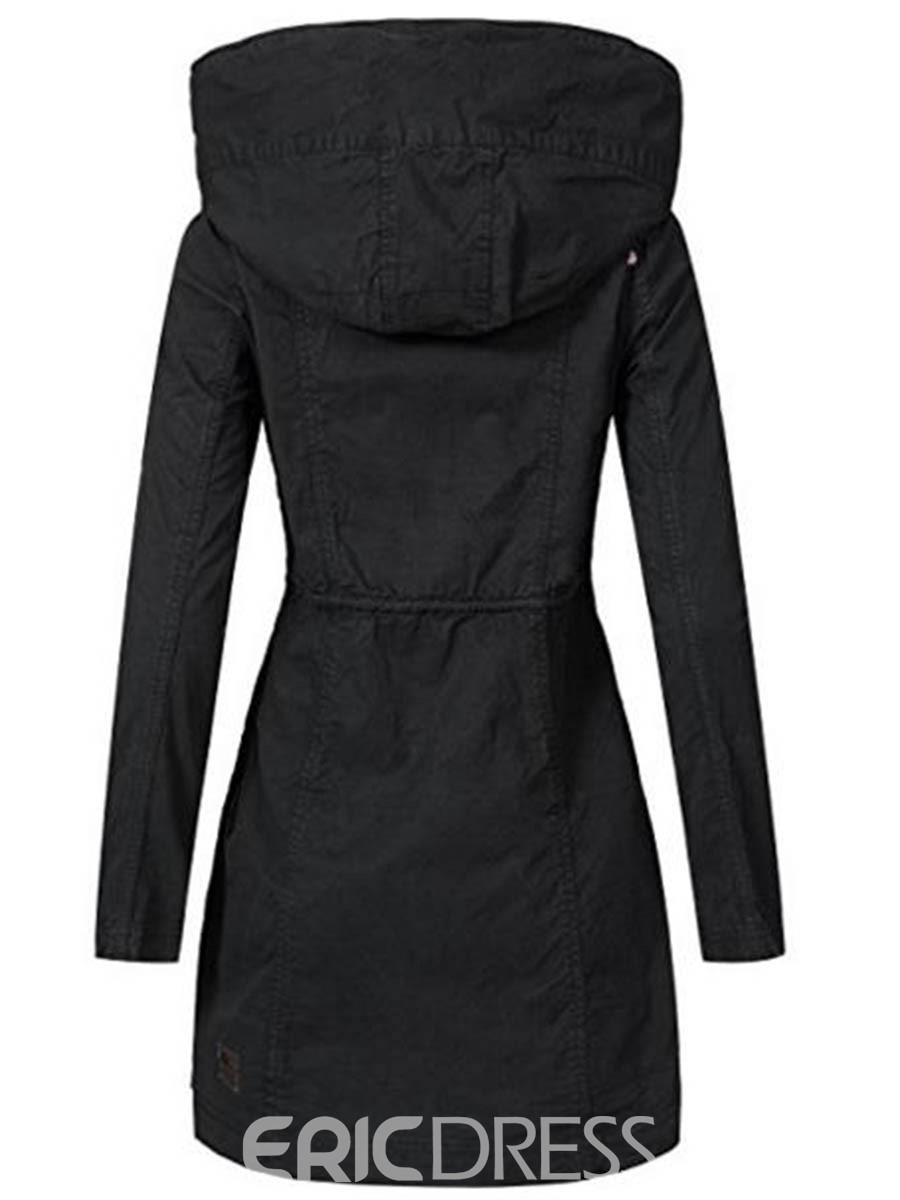 Ericdress Slim Mid-Length Zipper Hooded Coat