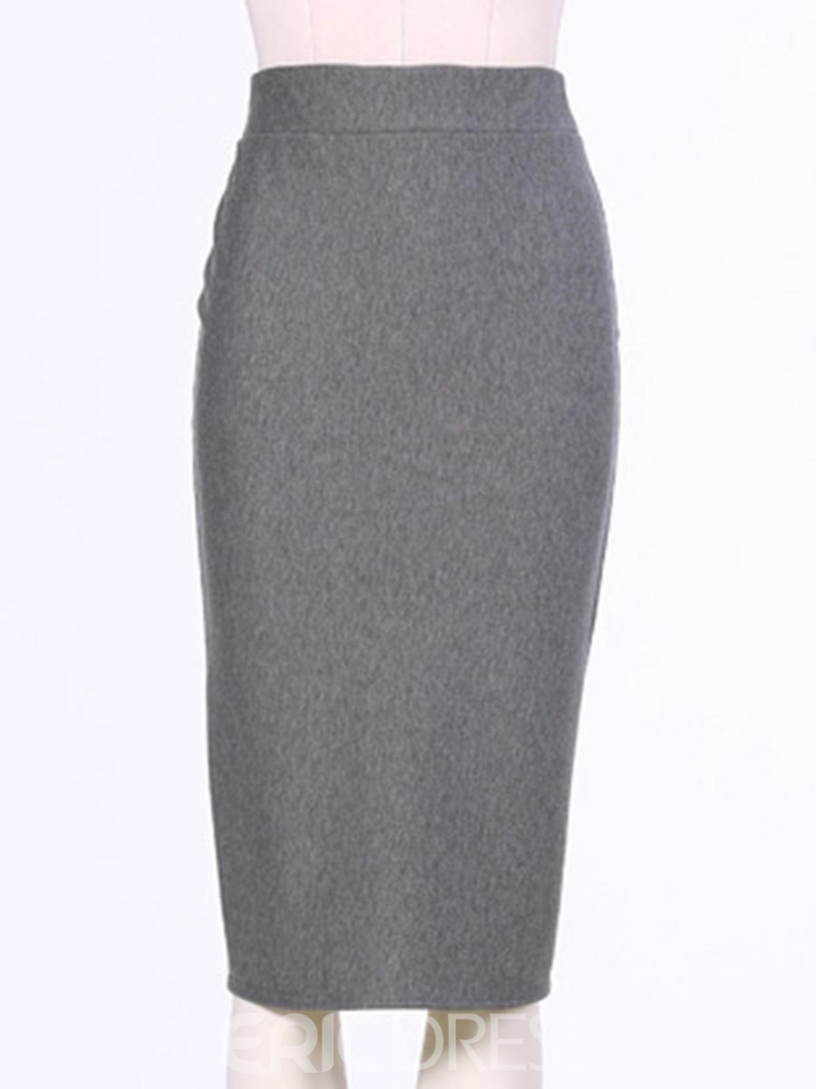 Ericdress High-Waist Plain Knee-Length Column Skirts