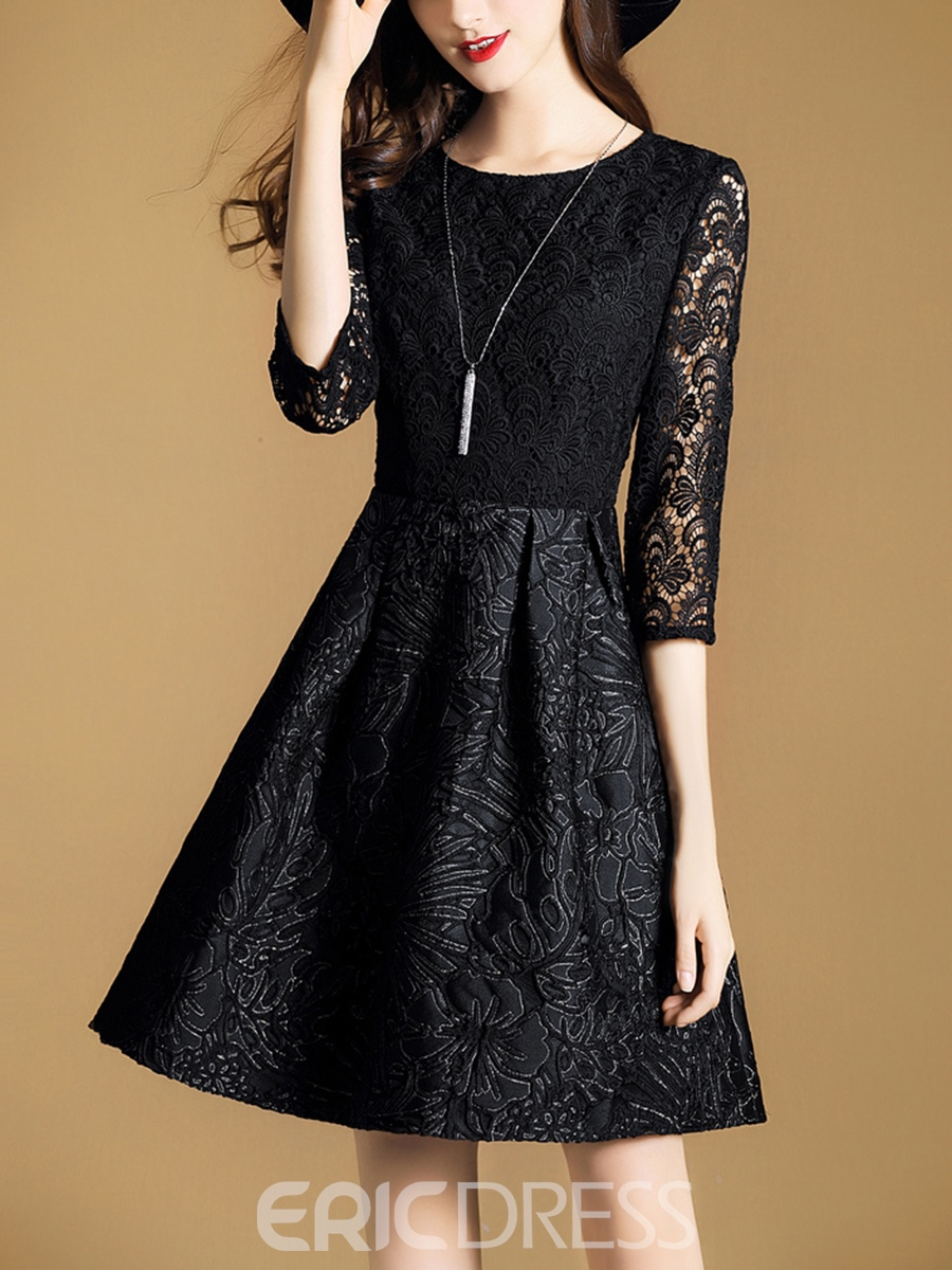 Ericdress 3/4 Sleeves Hollow Patchwork Little Black Dress