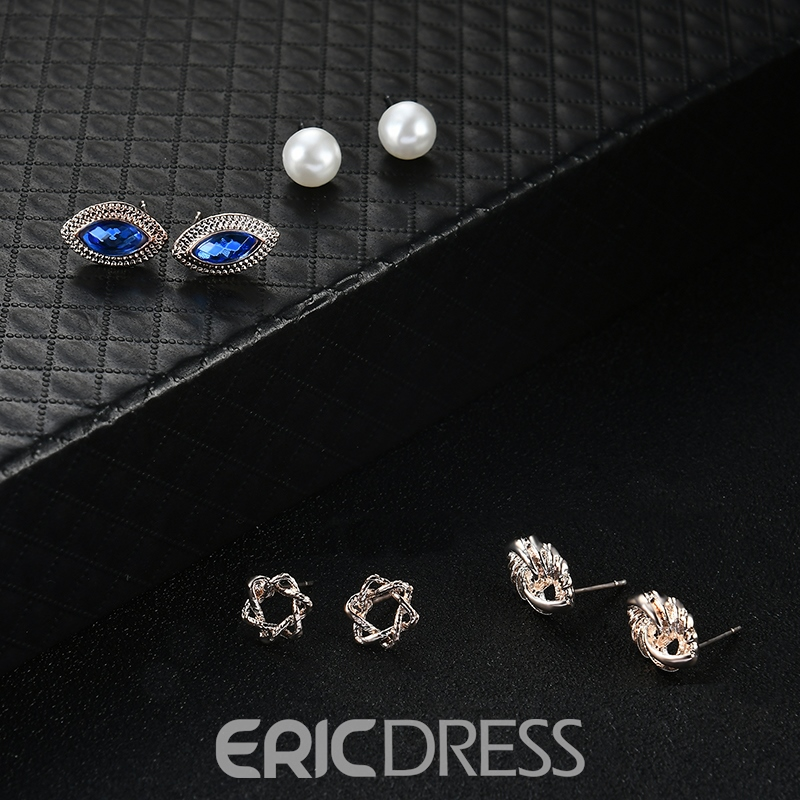 Ericdress Popular Imitation Pearl Blue Diamante Jewelry Set