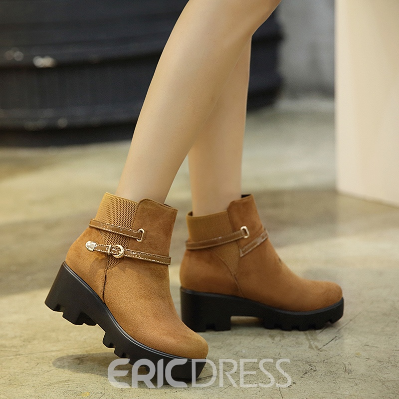 Ericdress Slip-On Platform Plain Ankle Boots with Buckle