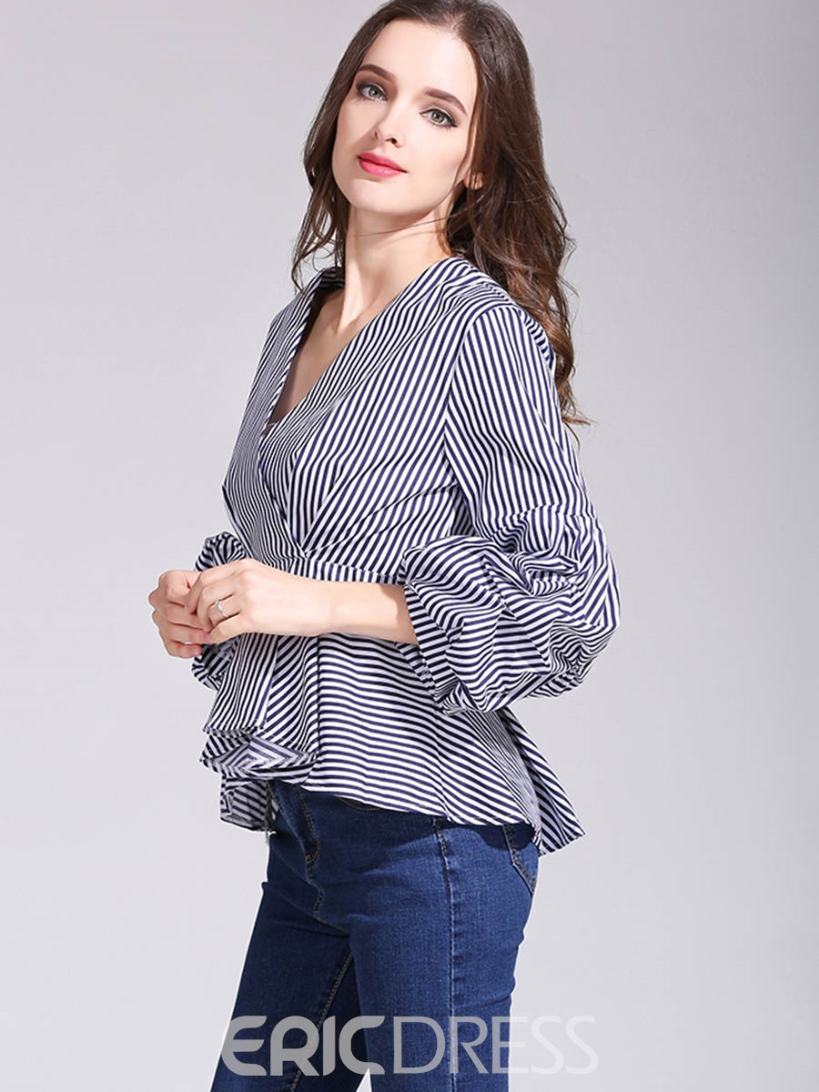 Ericdress V-Neck Stripe Heap Sleeve Blouse