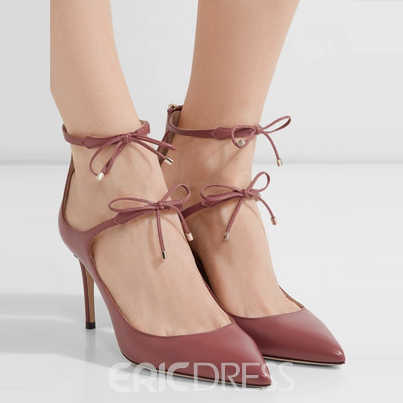 Ericdress Pointed Toe Stiletto Heel Pumps with Bowknot