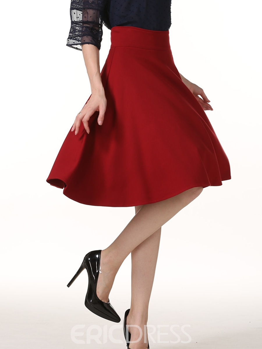 Ericdress A-Line Plain Full Women's Skirt
