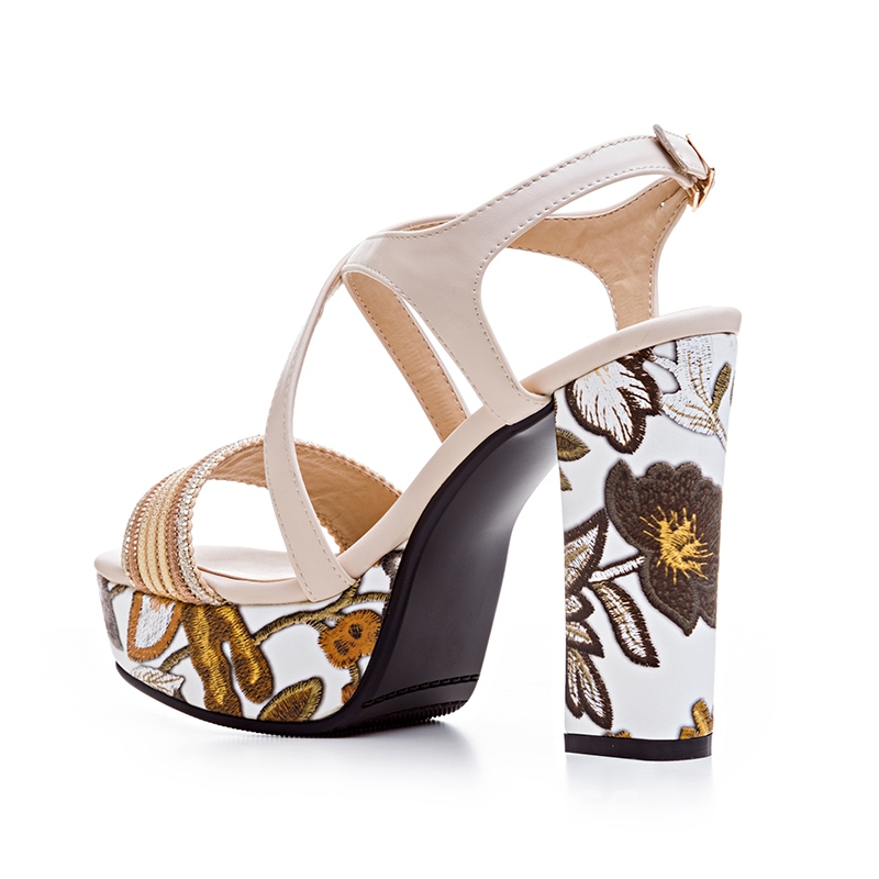 Ericdress Print Plant Strappy Platform Chunky Sandals