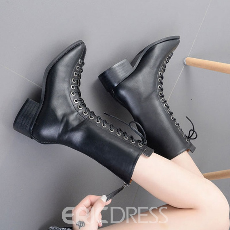 Ericdress Star Style Lace-Up Plain Martin Boots