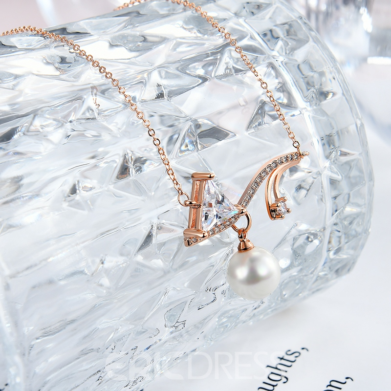 Ericdress All Match Diamante Rose Gold Necklace