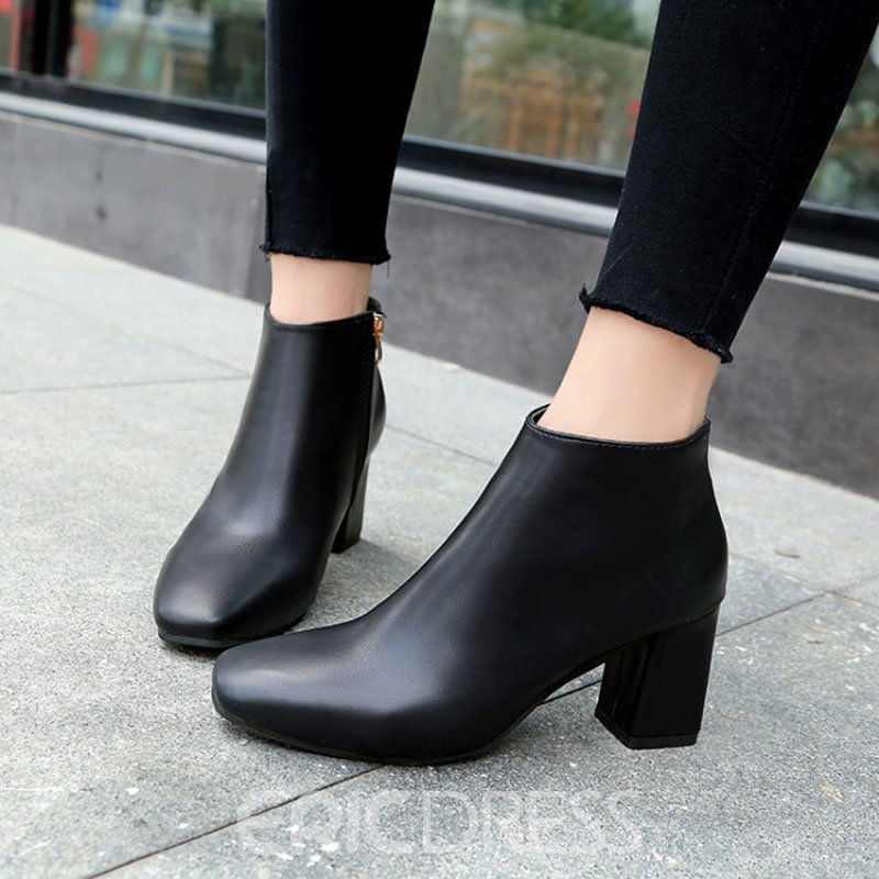 Ericdress Fashionable Side Zipper Plain Chunky Heel Boots