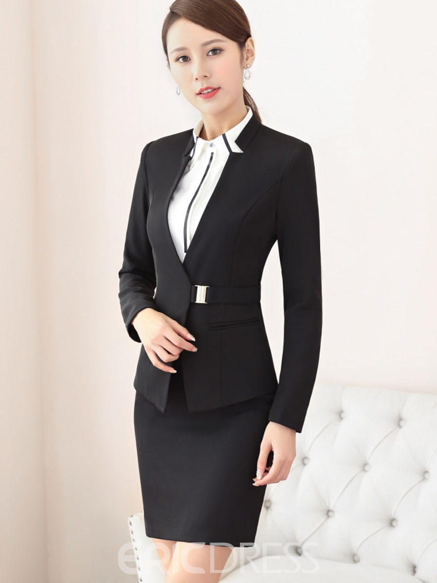 EricdressV-Neck Pocket Bodycon Formal Suits