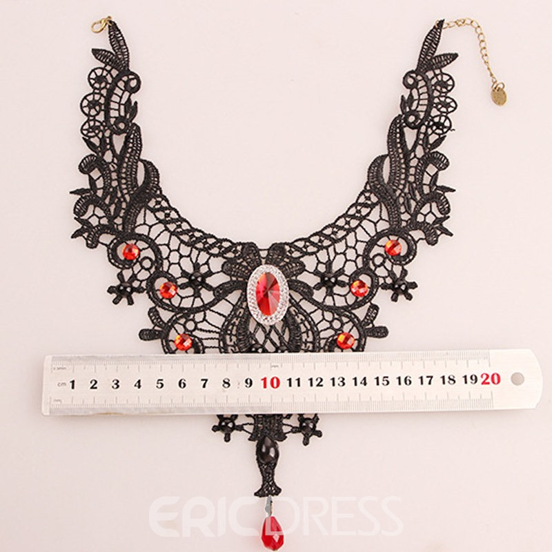 Ericdress Vintage Black Lace Ruby Inlay Necklace for Halloween
