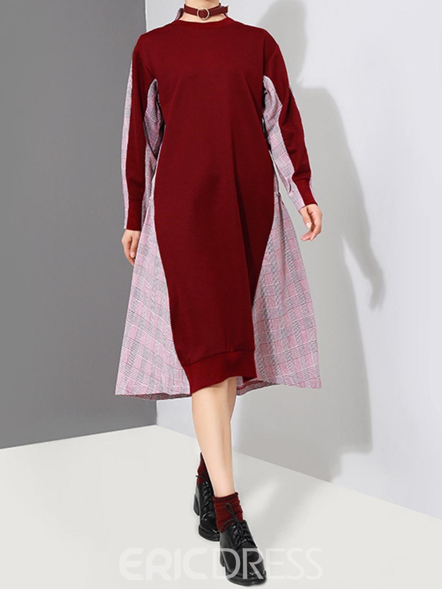 Ericdress Plaid Patchwork Lace-Up Long Sleeve Dress