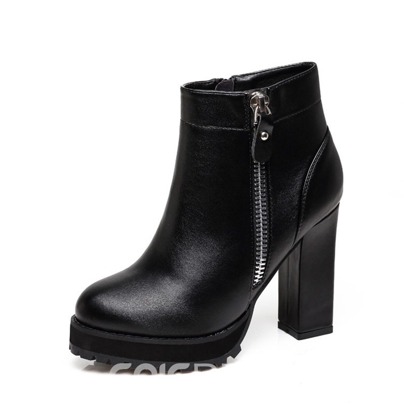 Ericdress Comfy Round Toe Platform Chunky Heel Boots