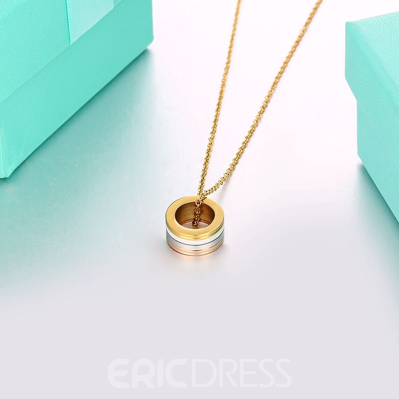 MarkChic Elegant Ceramic Gold Plating Pendant Necklace