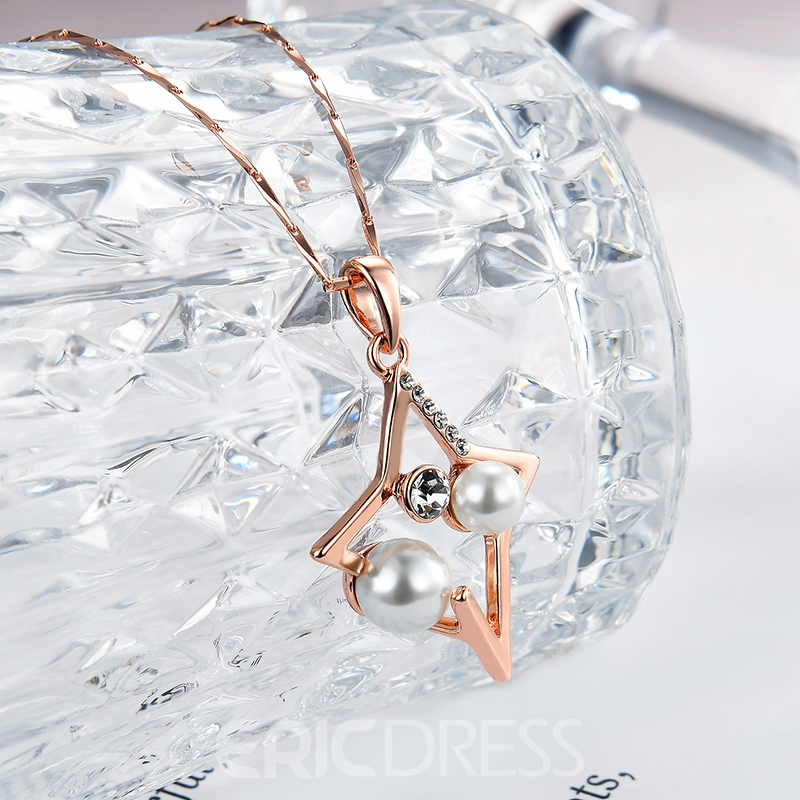 Ericdress Popular Zircon Imitation Pearl Five-Pointed Star Pendant Necklace