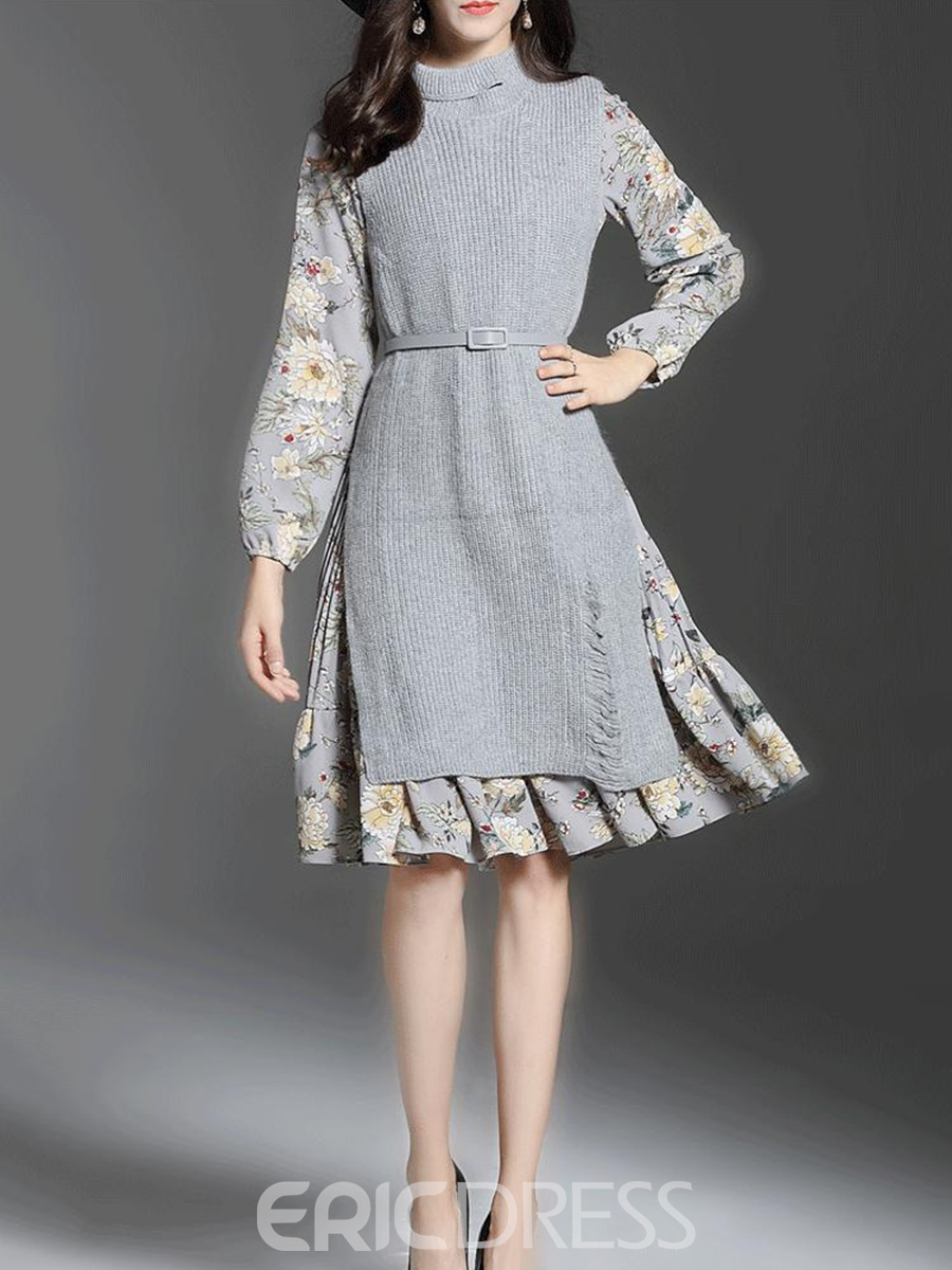 Ericdress Stand Collar Belt Floral Print A Line Dress