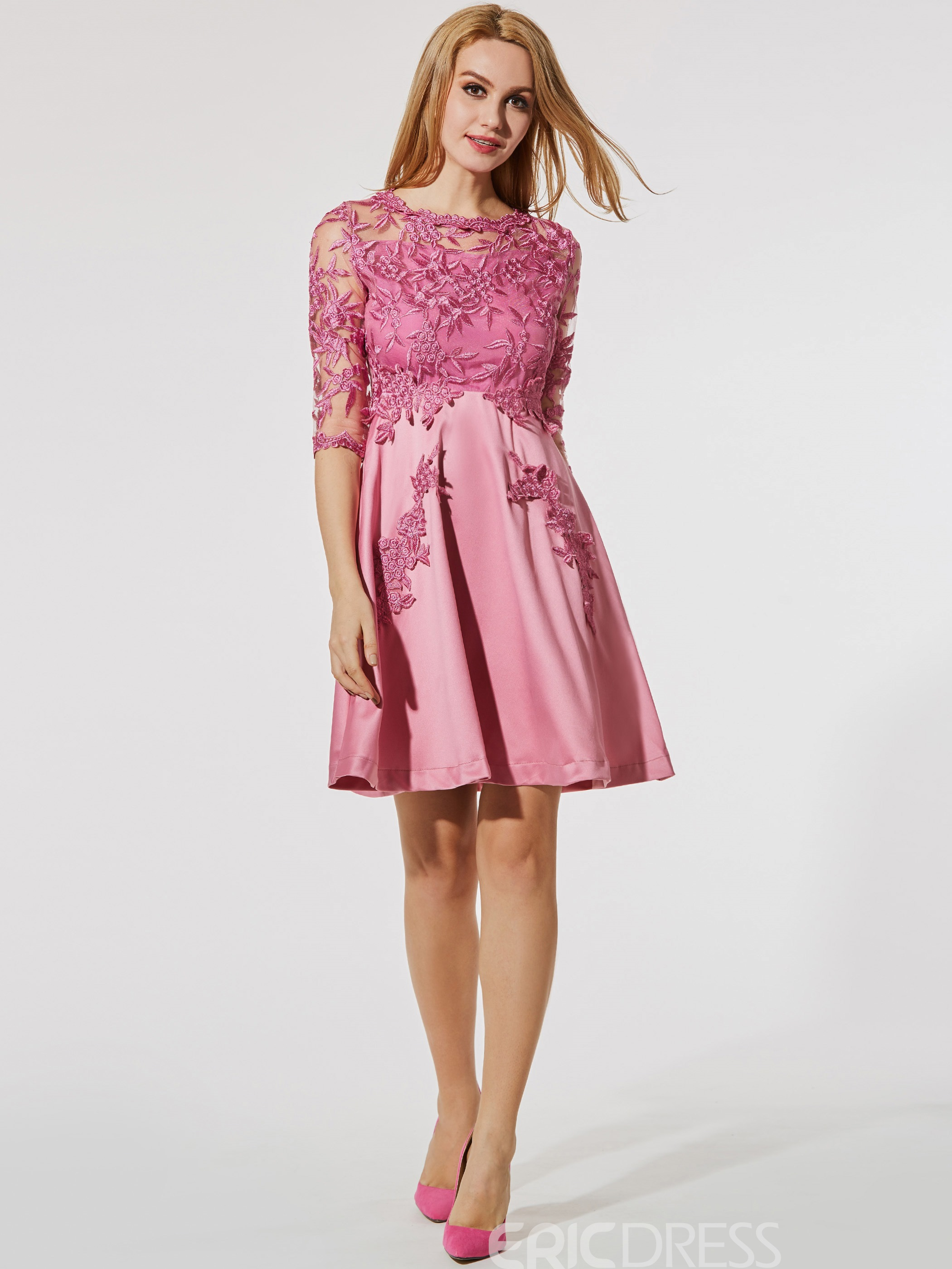 Ericdress Embroidery See-Through Half Sleeve A Line Dress