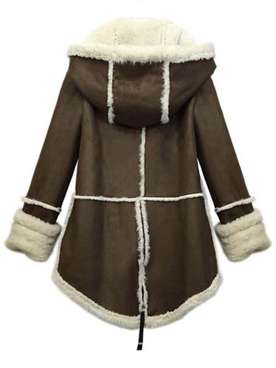 Ericdress Thick Mid-Length Hooded Coat