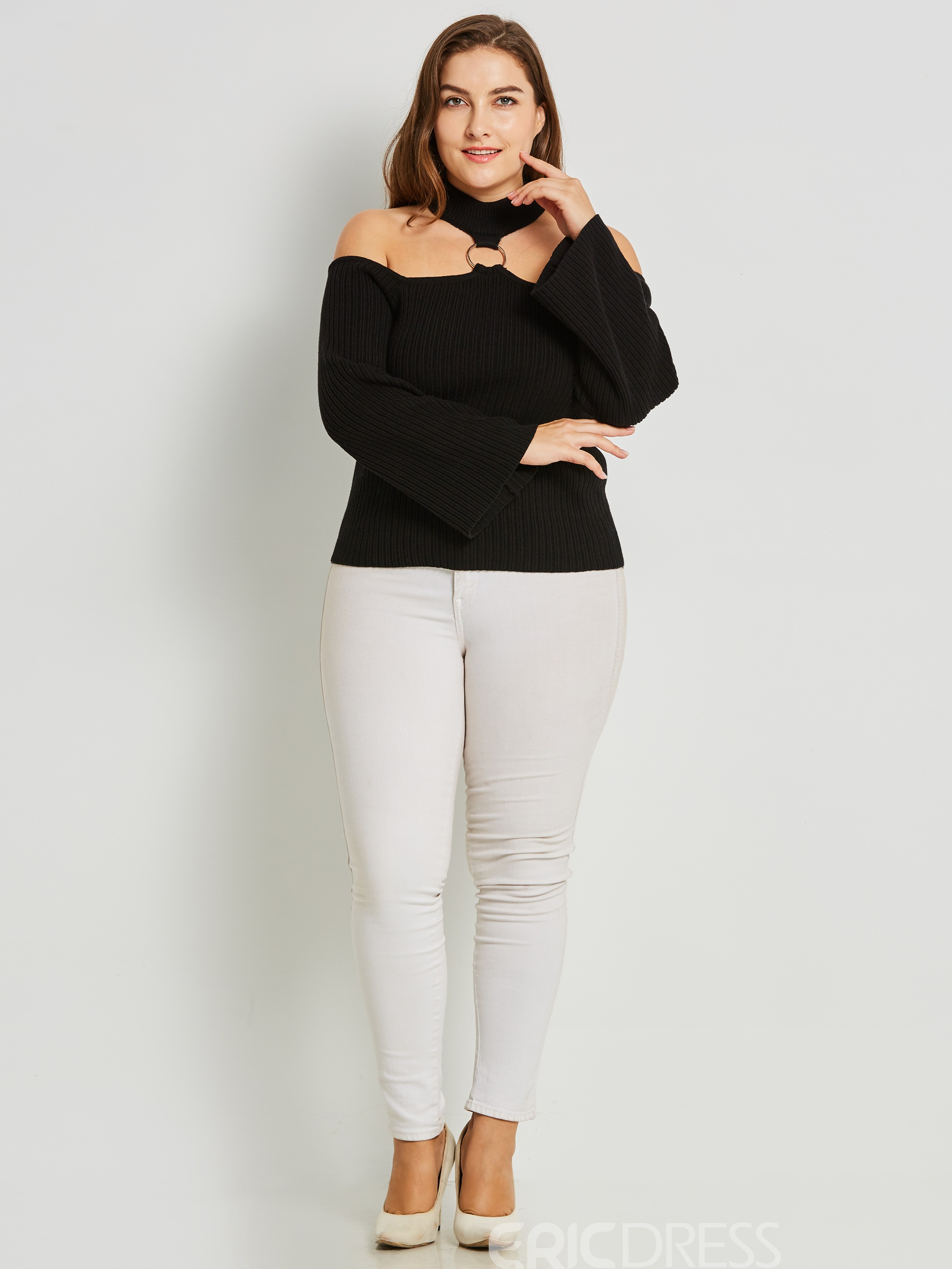 Ericdress Stand Collar Plain Cold Shoulder Knitwear