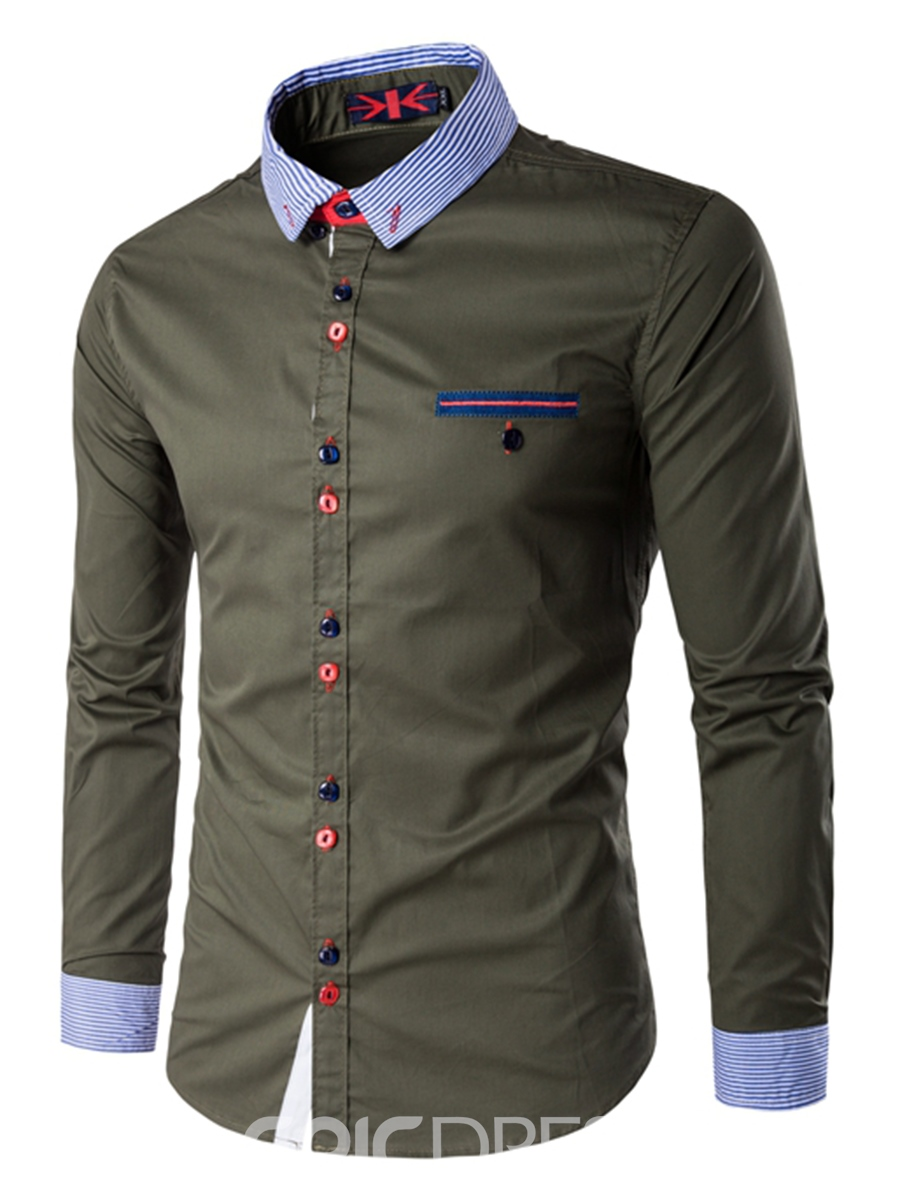Ericdress Color Block Lapel Casual Slim Men's Button Down Shirt