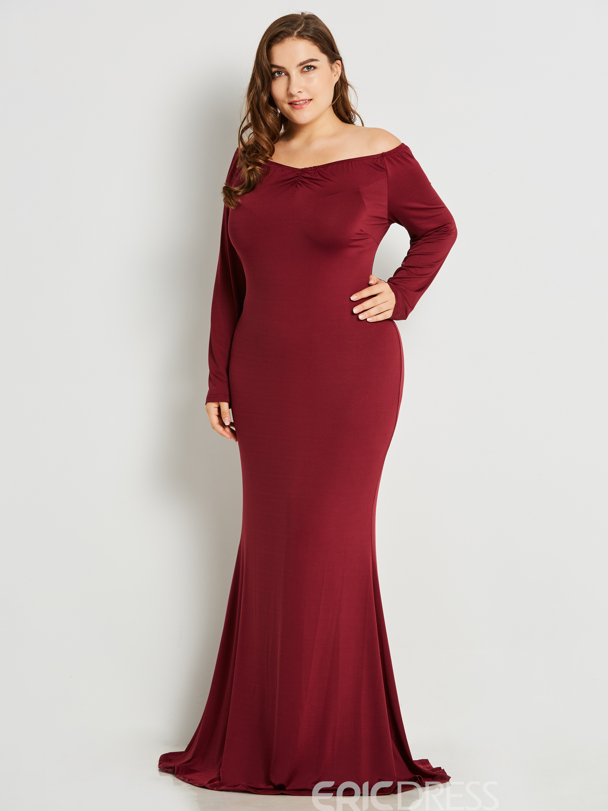 0c44e9d2834 Ericdress Plus Size V-Neck Slim Pleated Solid Collar Maxi Dress(12778226)