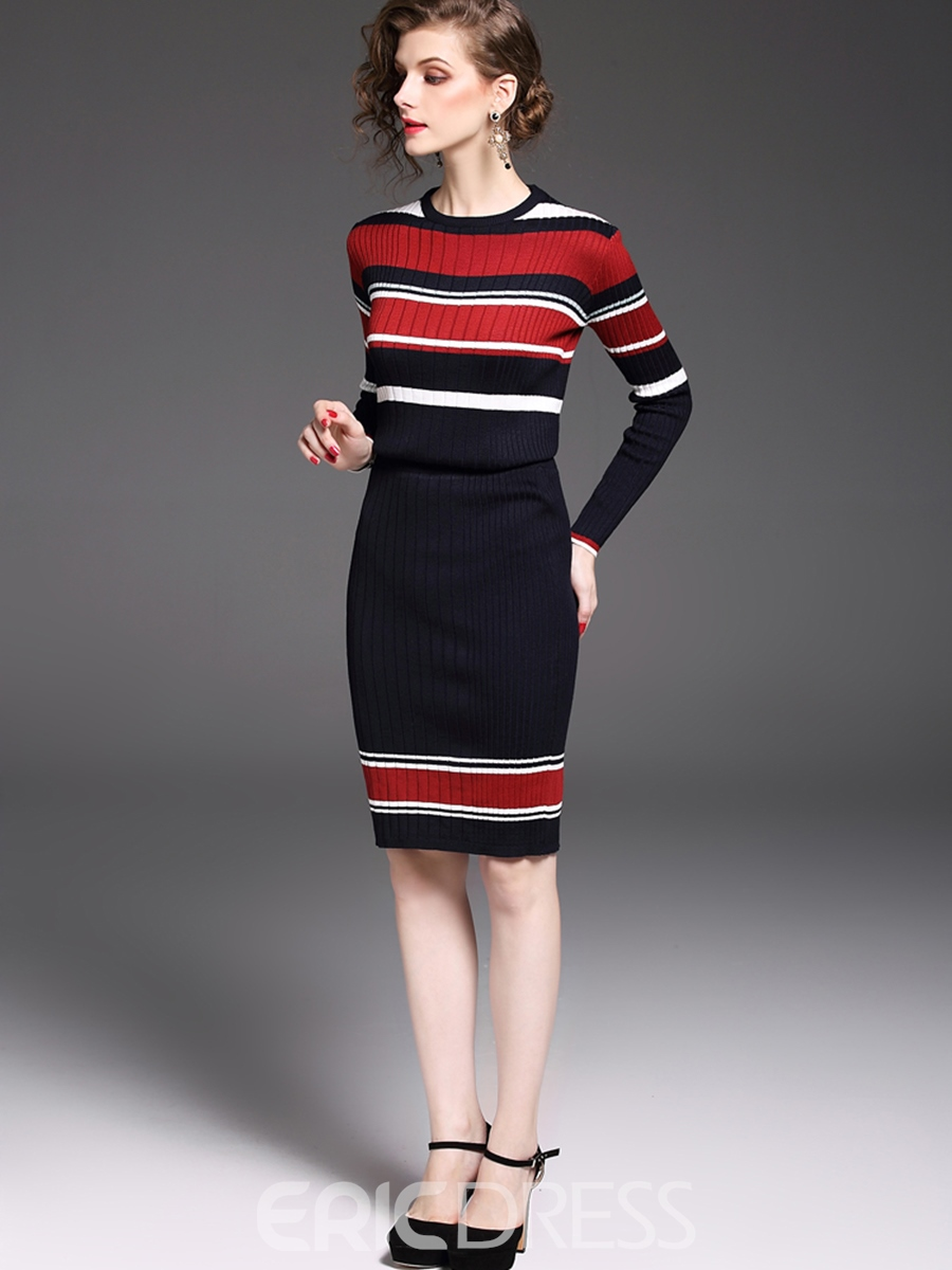 Ericdress Stripe Print Autumn Knee-Length Leisure Suits