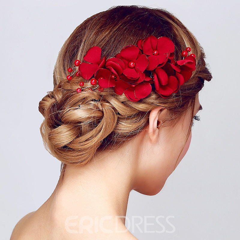 Ericdress Chinese Style Red Flower Wedding Accessories Hair Accessories