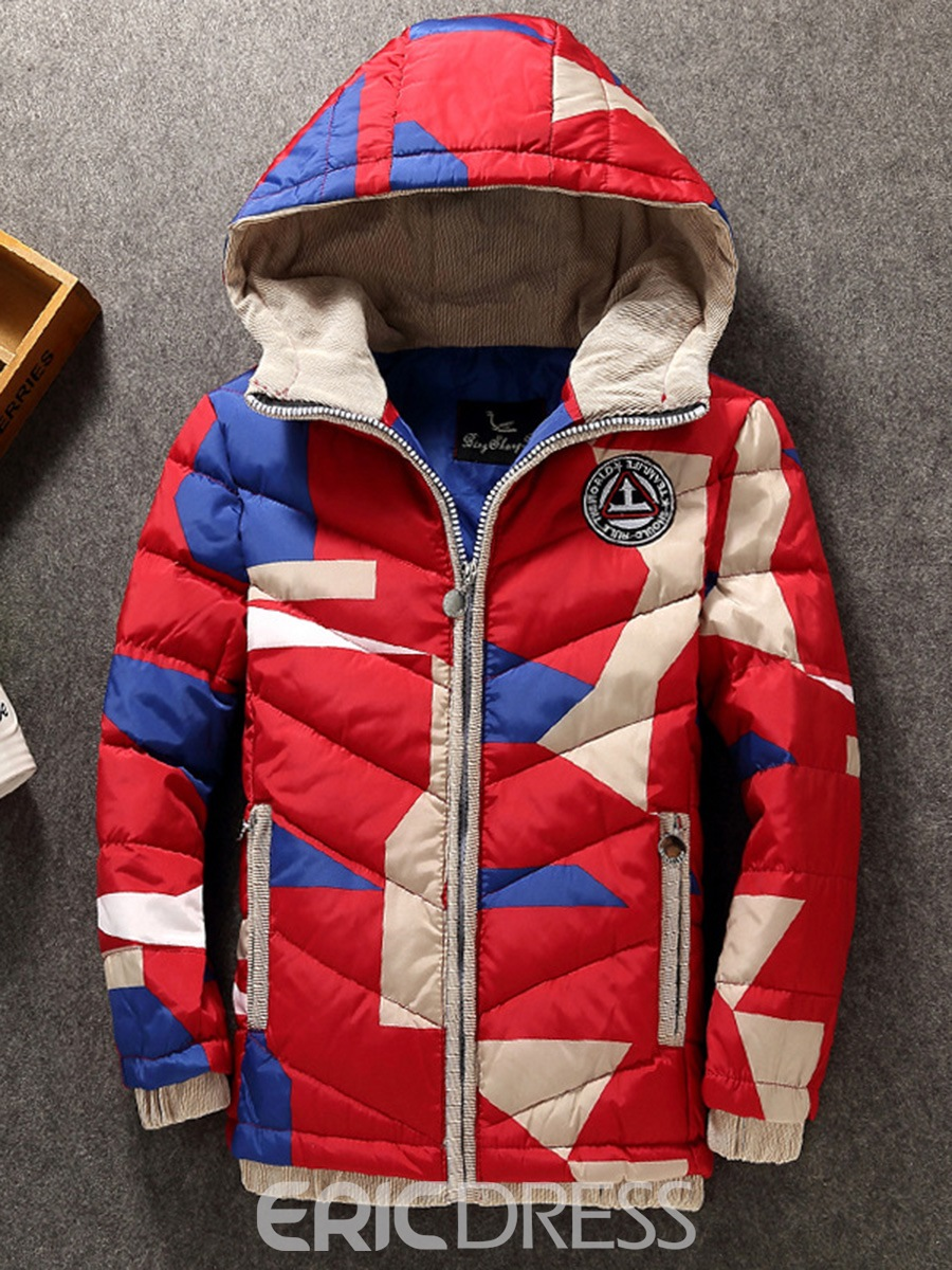 Ericdress Thick Color Block Zipper Warm Boys Down Coat