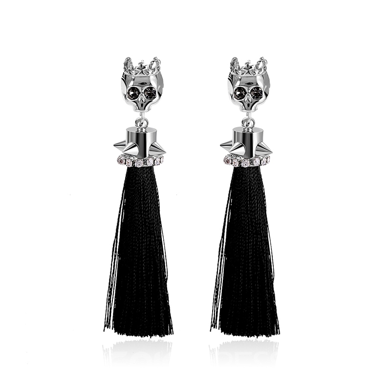 Ericdress Creative Skull Tassel Earring for Women