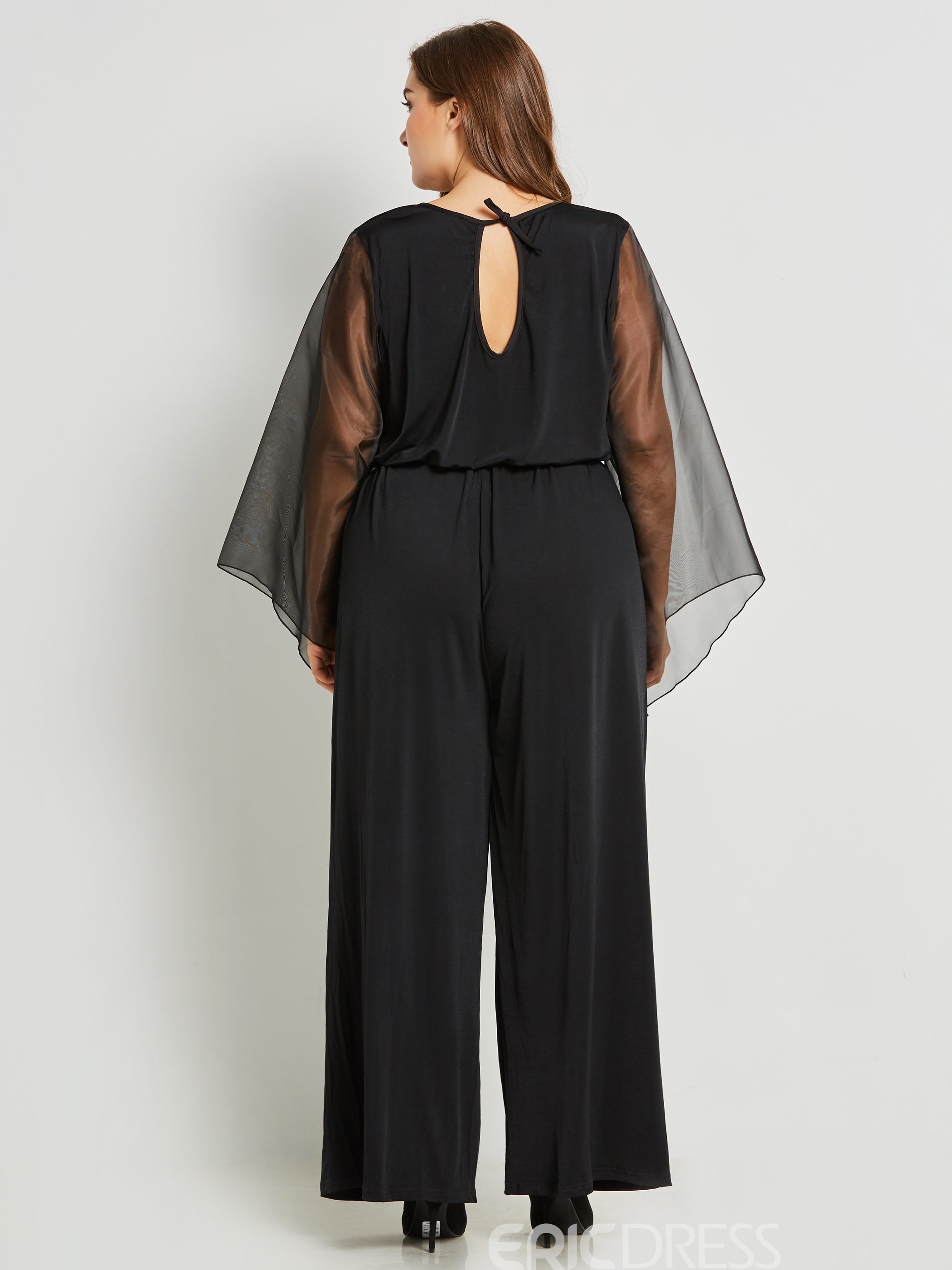 Wide Legs Mesh See-Through Patchwork Jumpsuits Pants