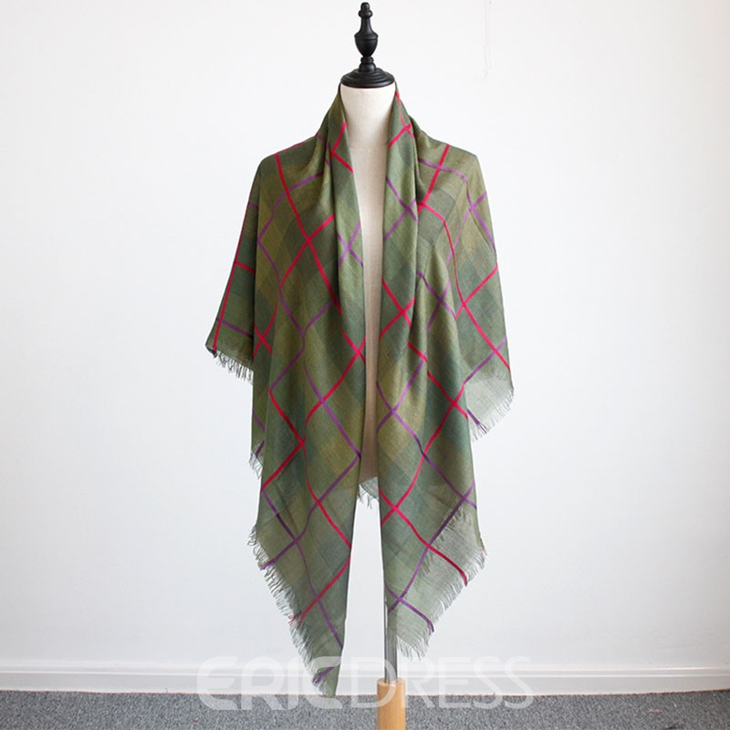 Ericdress Cotton and Linen All Match Grid Scarf for Women