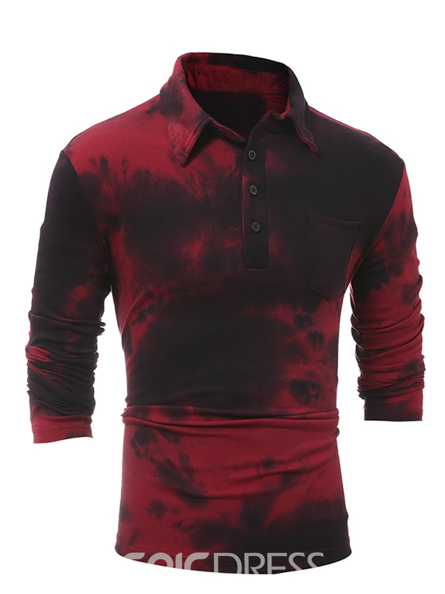 Ericdress Long Sleeve Print Casual Polo Men's T-Shirt