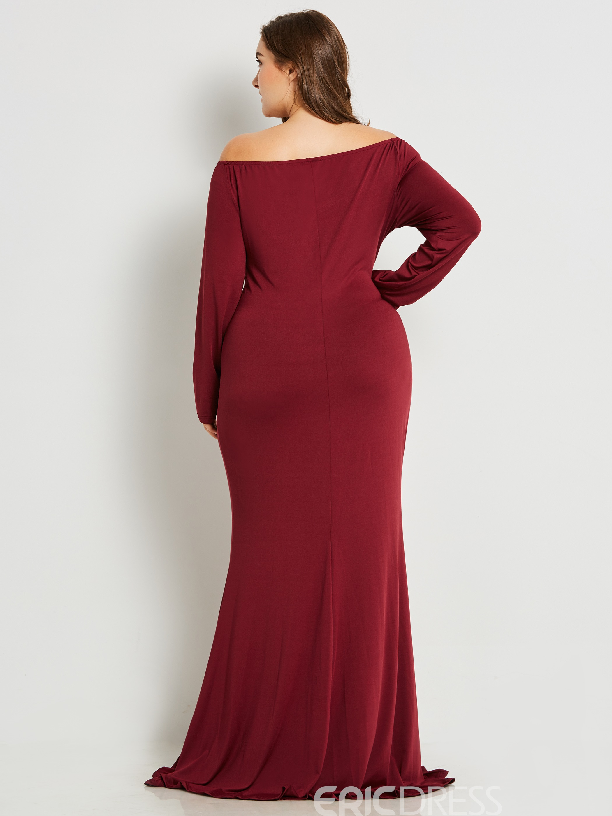Ericdress Plus Size V-Neck Slim Pleated Solid Collar Maxi Dress