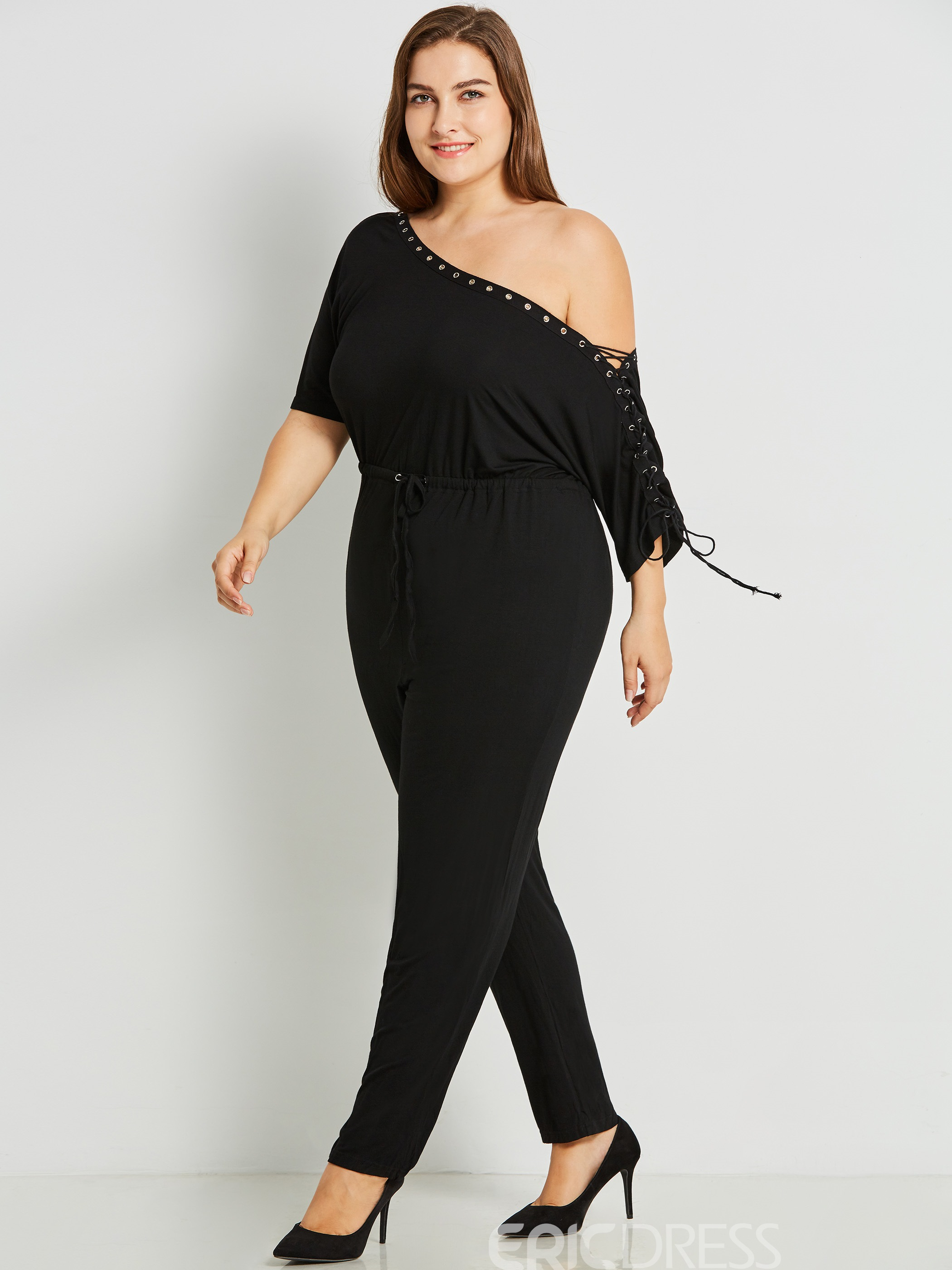 Ericdress Plus Size Lace-Up Plain Slim Jumpsuits Pants