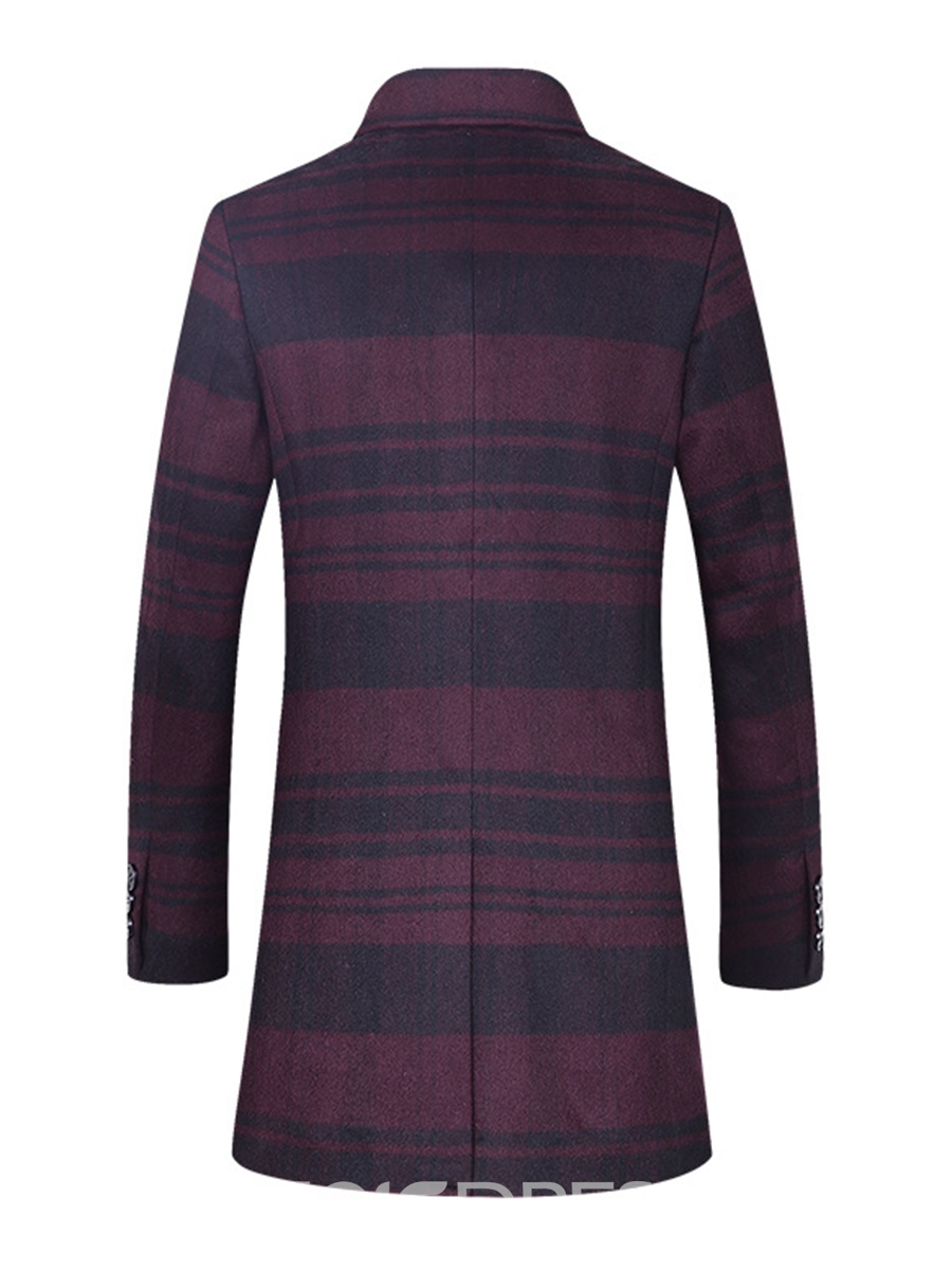Ericdress Stripe Print Mid-Length Vogue Slim Men's Woolen Coat