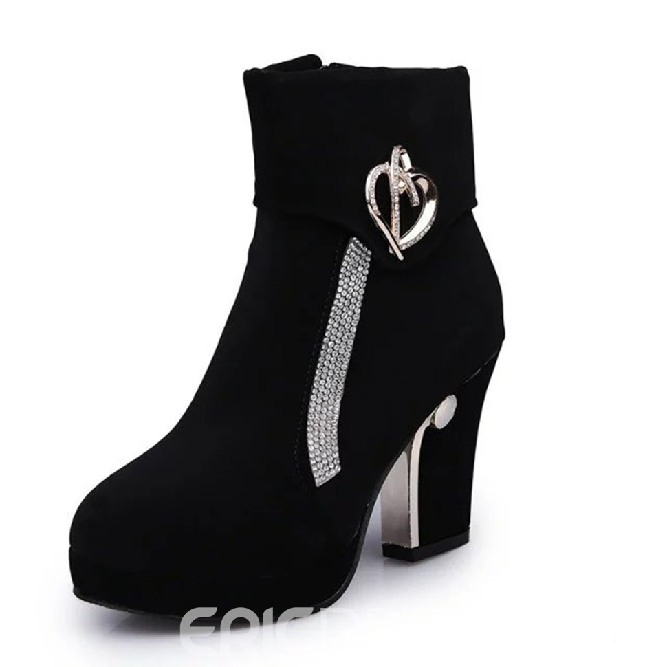 Ericdress Rhinestone Platform Color Block High Heel Boots