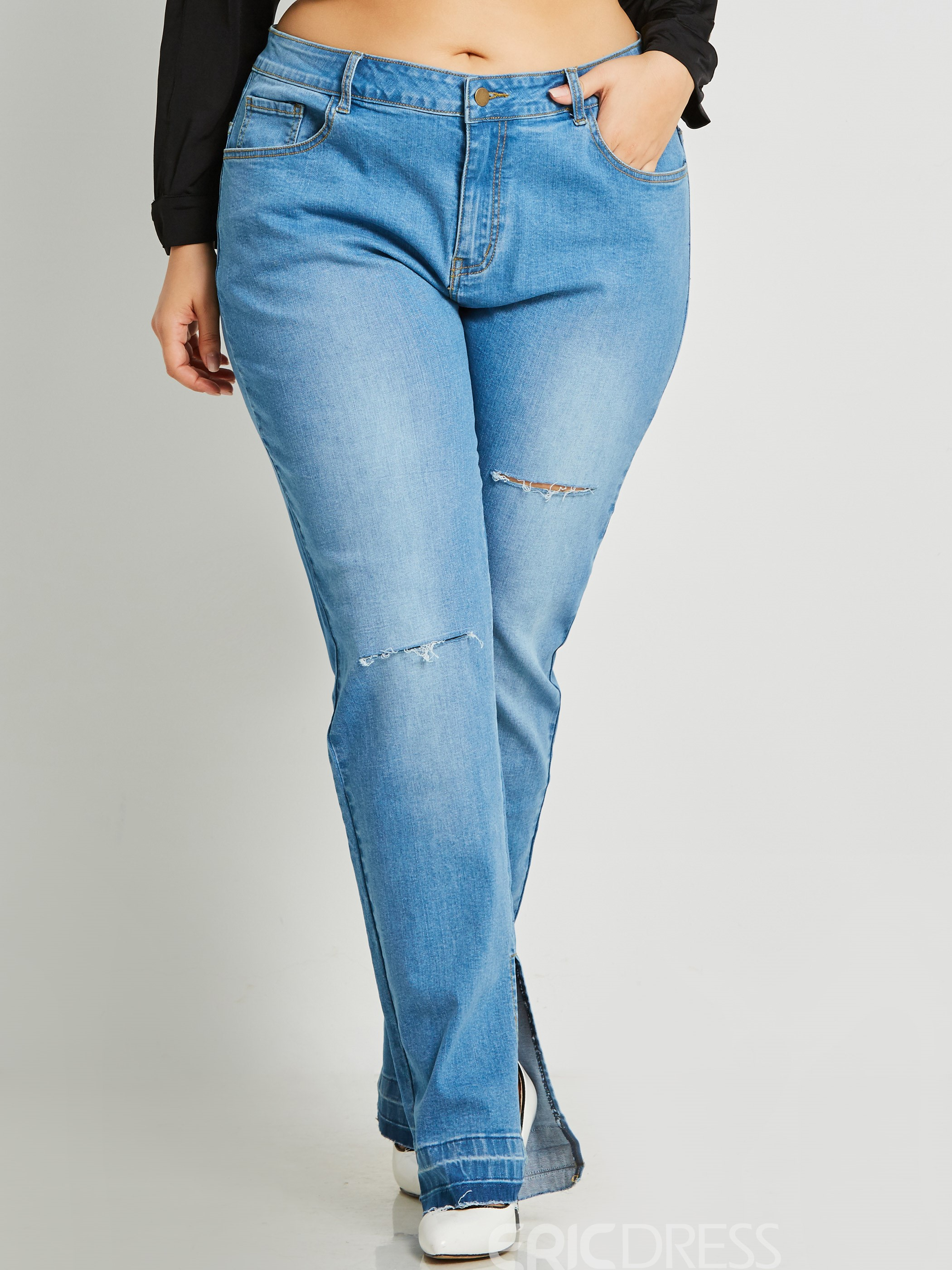 ericdress Denim Schlitz Damen Jeans