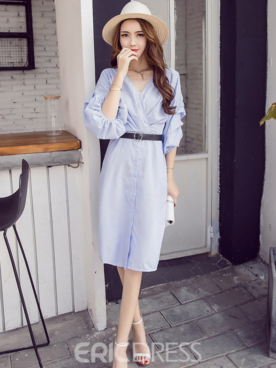 Ericdress V-Neck Lantern Heap Sleeve Belt Casual Dress