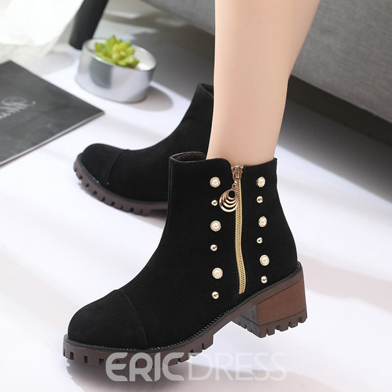 Ericdress Rivet Round Toe Plain Ankle Boots with Beads