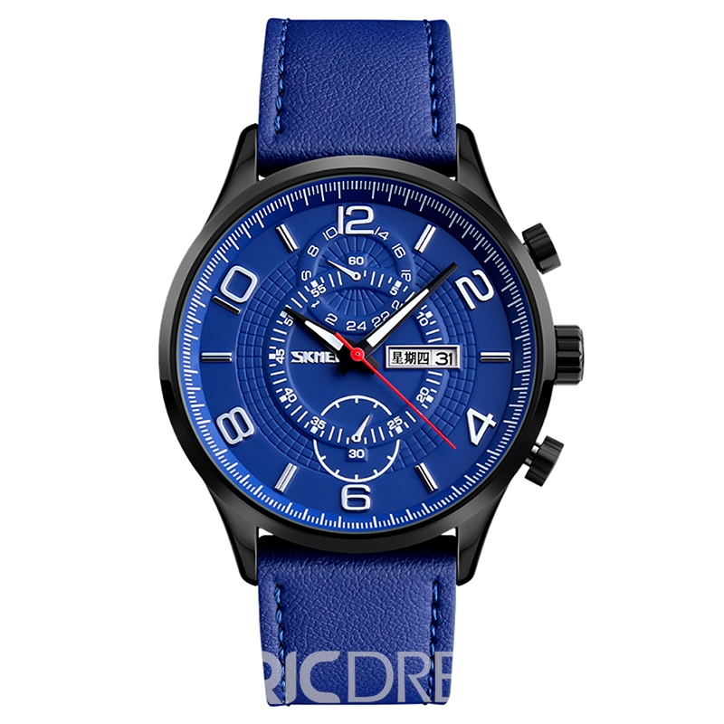 Ericdress High Quality Round Case Leather Strap Men's Watch