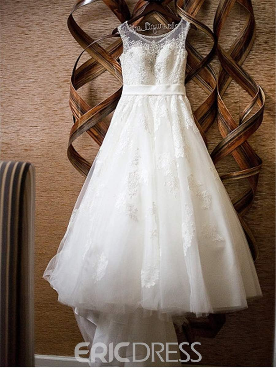 A-Line Sleeveless Court Floor-Length Garden/Outdoor Wedding Dress