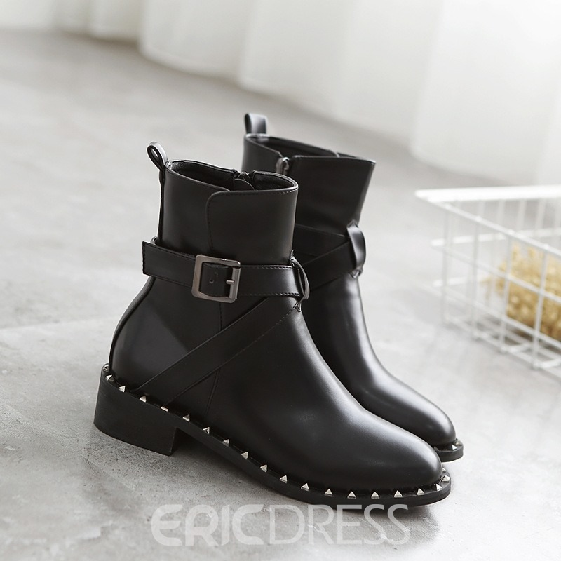 Ericdress Cool Rivet Plain Motorcycle Boots with Buckle