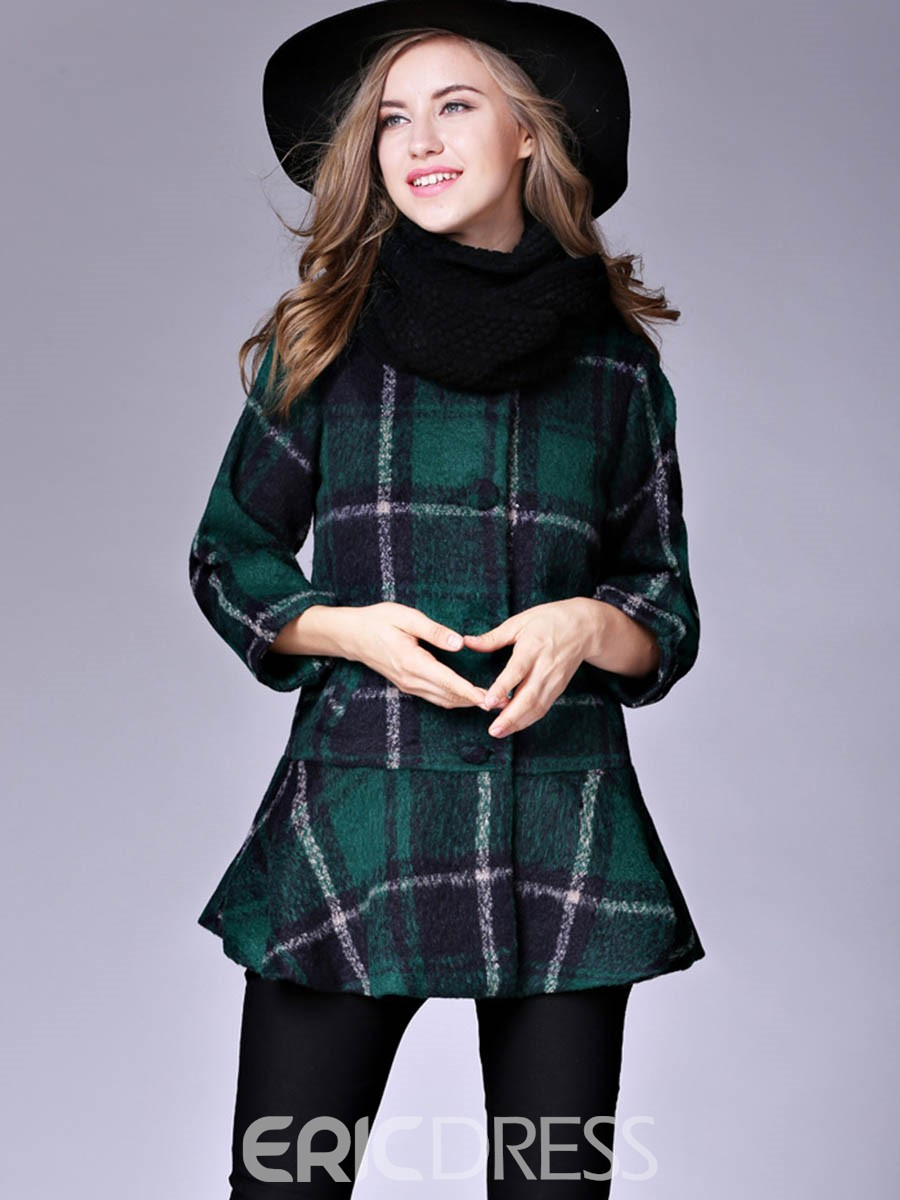 Ericdress Plaid Single-Breasted Mid-Length Coat