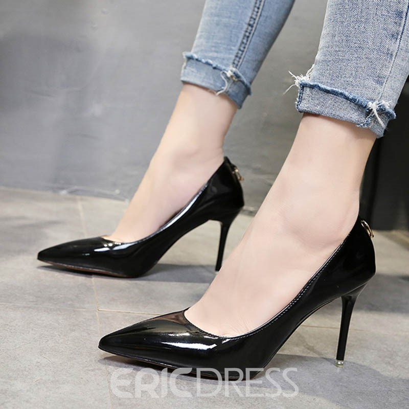 Ericdress Plain Pointed Toe Slip-On Stiletto Heel Pumps