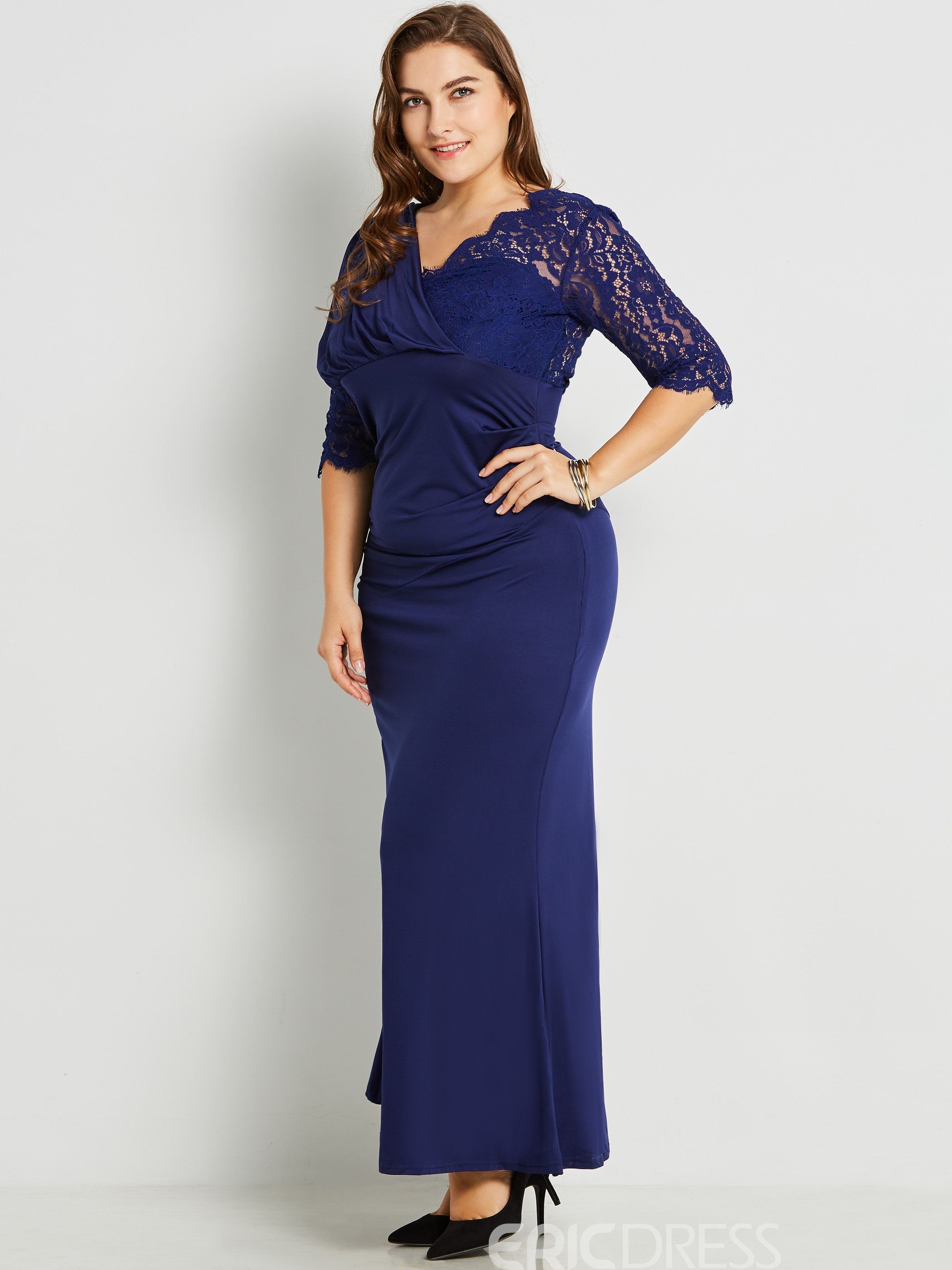 Ericdress V-Neck Contrast-Trim 3/4 Length Sleeves Plus Size Maxi Dress