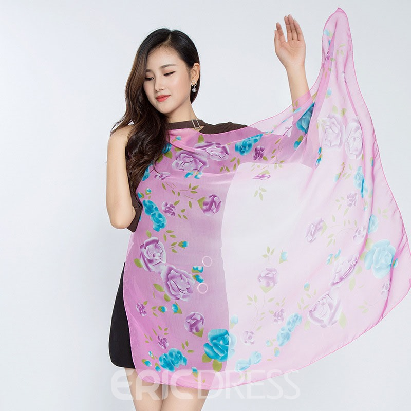 Ericdress 2017 New Style Printed Chiffon Scarf for Women