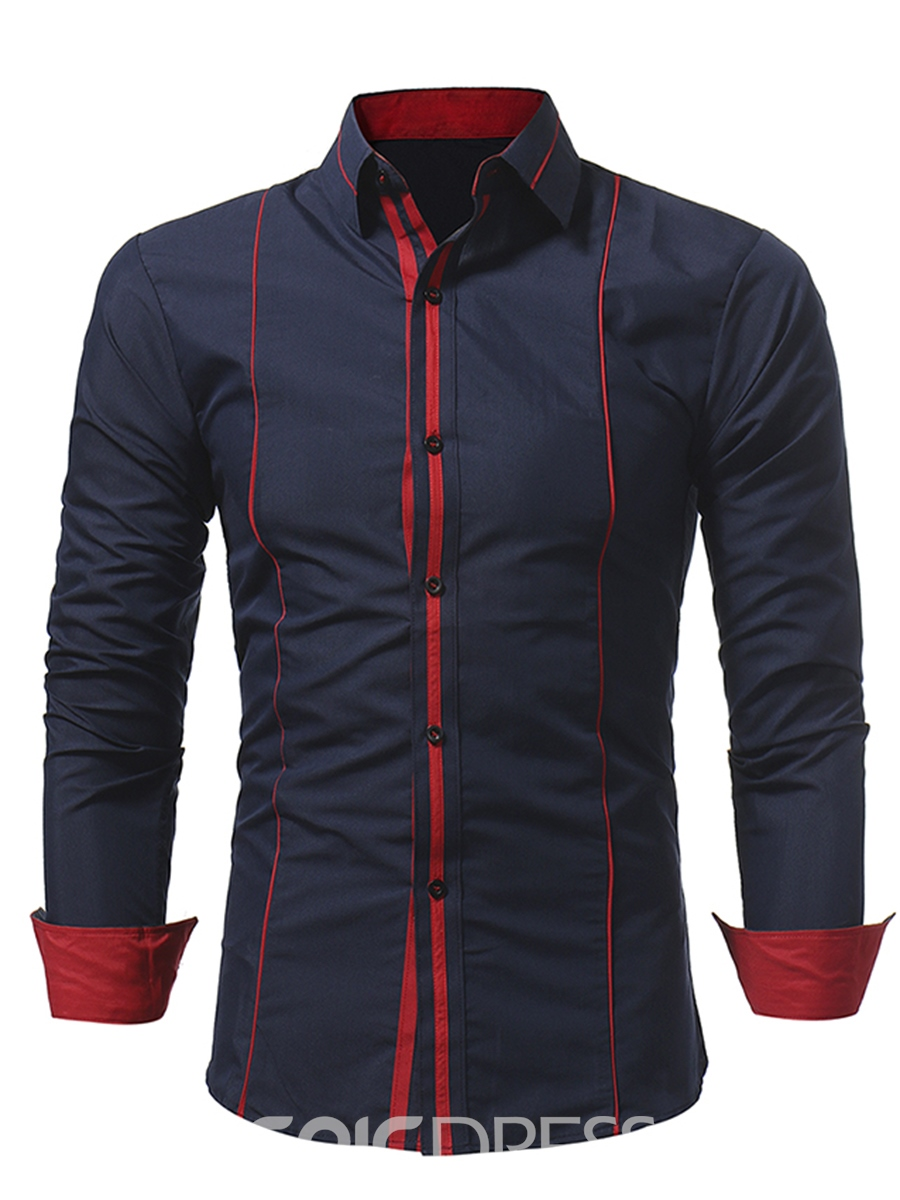 Ericdress Color Block Stripe Patched Vogue Slim Men's Shirt